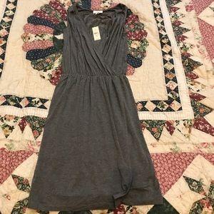 Ann Taylor Loft Gray Jersey faux wrap dress